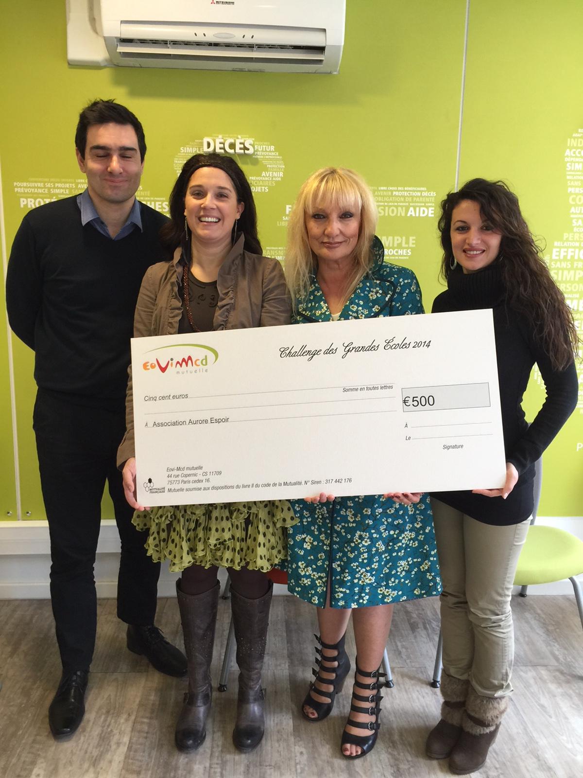 Remise de don au bénéfice de l'association Aurore-Espoir